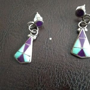Sugilite and turquoise sterling earrings